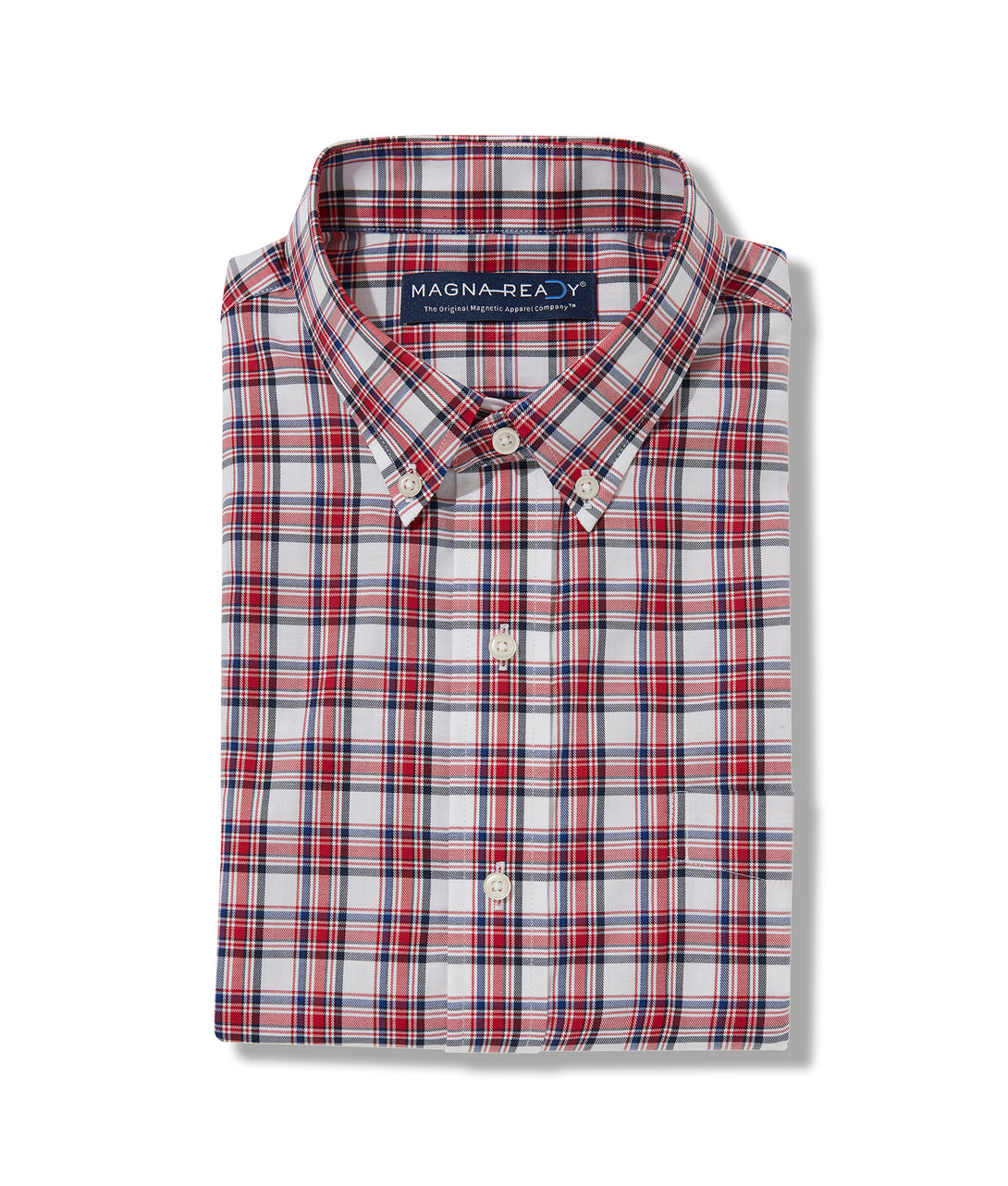 Red Multi Twill Plaid Long Sleeve 'Heights' Shirt with Magnetic Closures