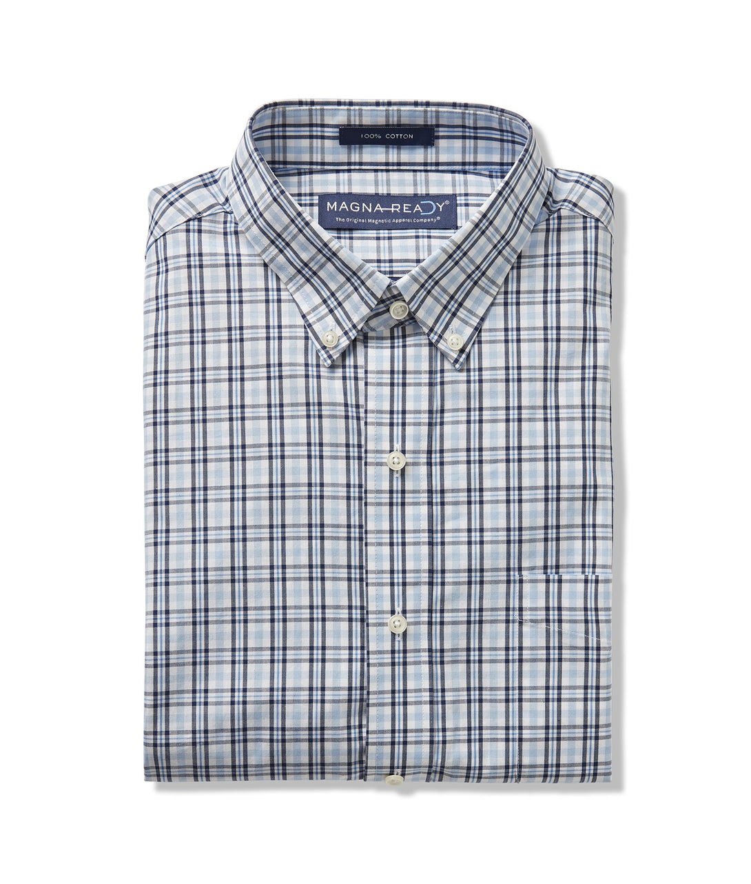 Fog Blue Multi Poplin Plaid Long Sleeve 'Heights' Casual Shirt with Magnetic Closures