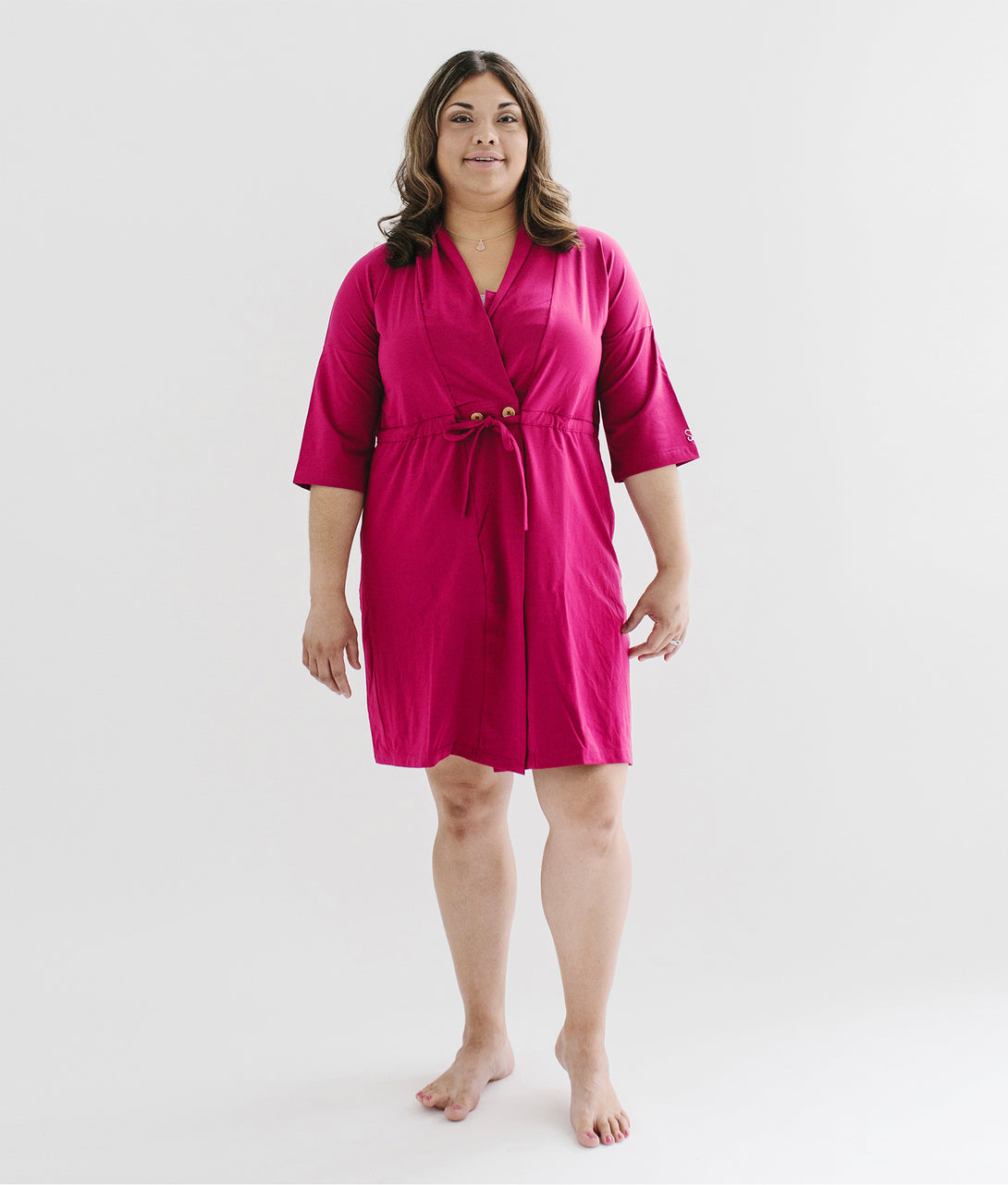 Surgery Recovery Robe With Drain Management Plus Pocketed Bra in Pink