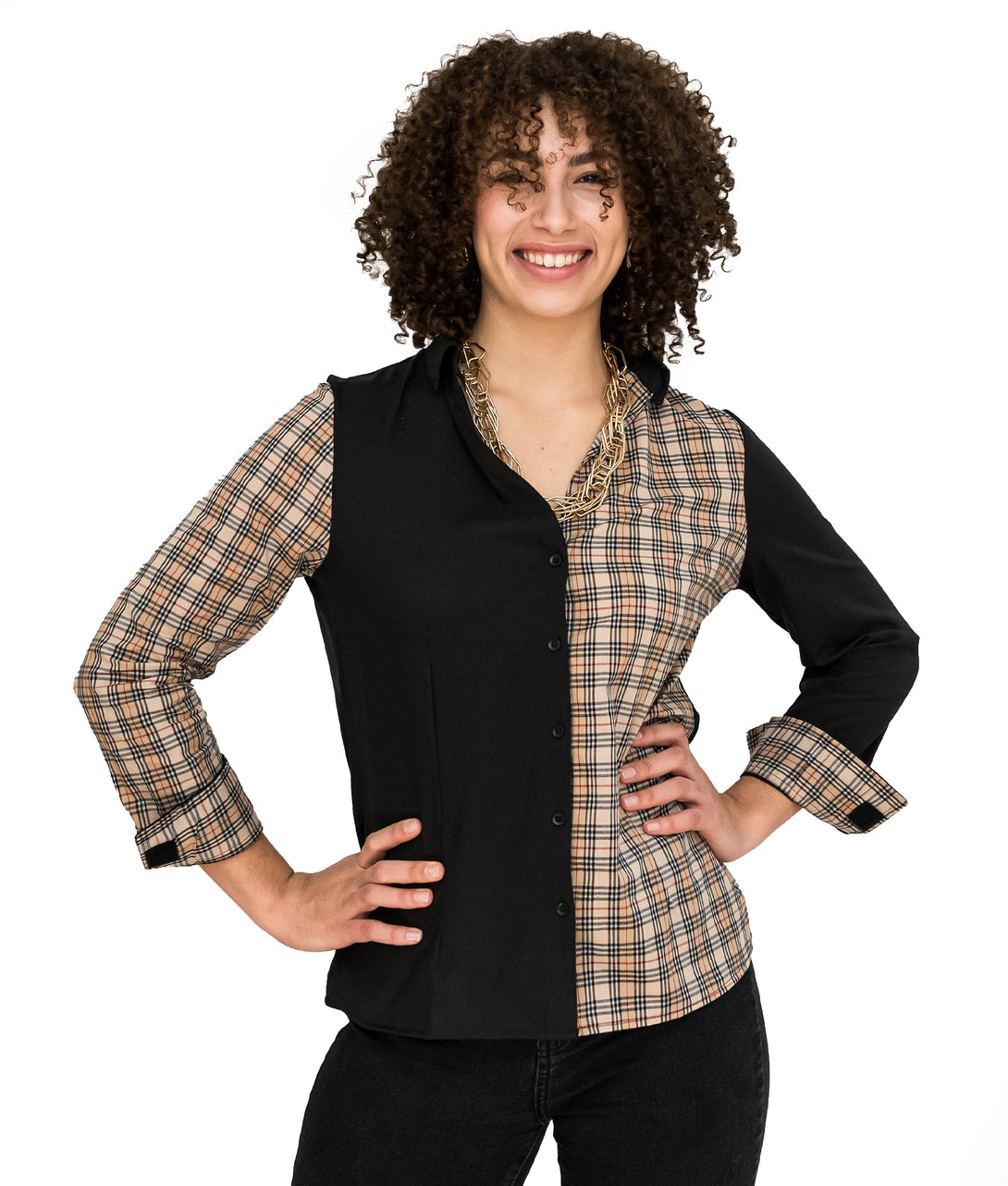 Alana Soul Adaptive Blouse Black Night in Black / Tan Plaids