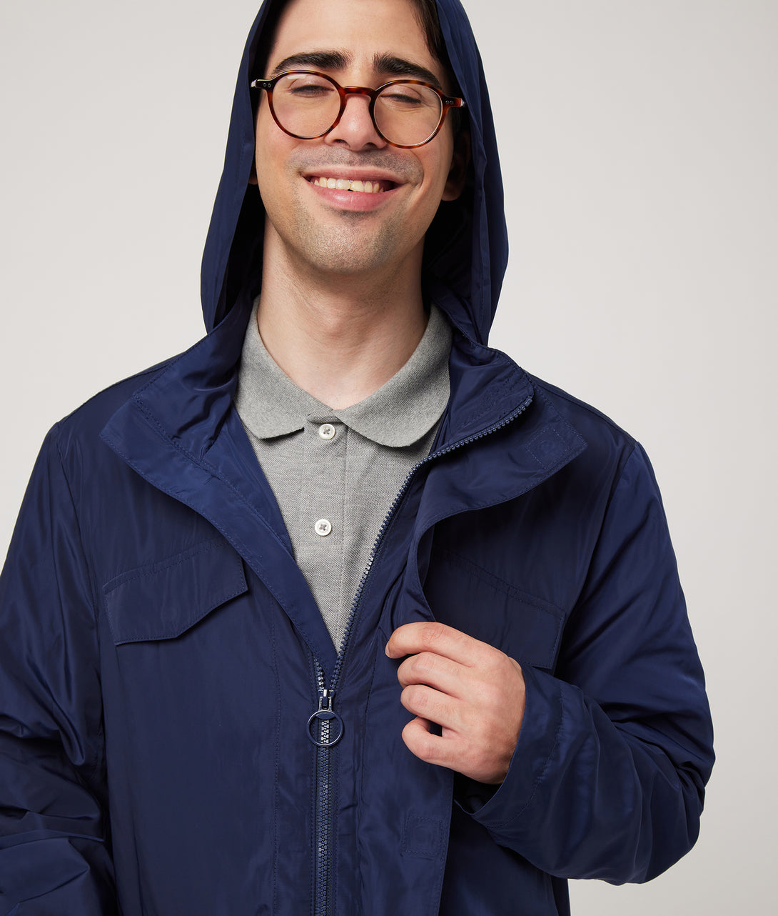 Navy Solid Poplin Long Sleeve 'Wilson' Lt. Weight Rain Jacket with Magnetic Closures