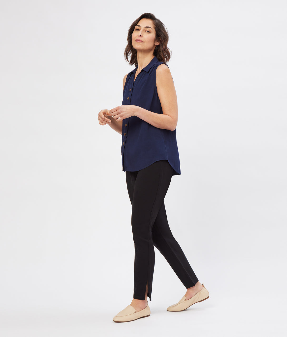 NEW Danielle Collared Button-Down Tank with Magnetic Closures