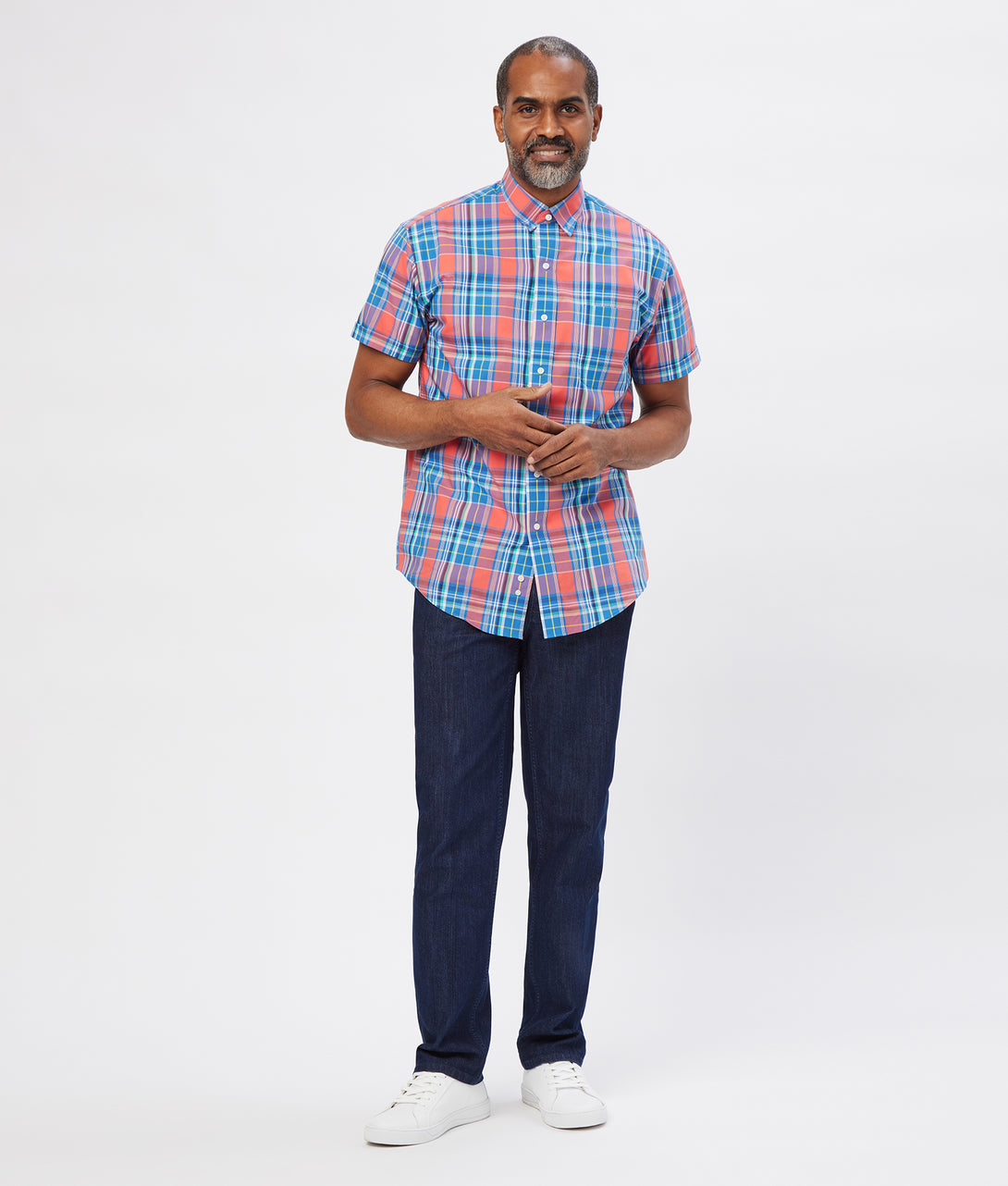 Coral Poplin Short Sleeve 'Athens' Casual Shirt with Magnetic Closures