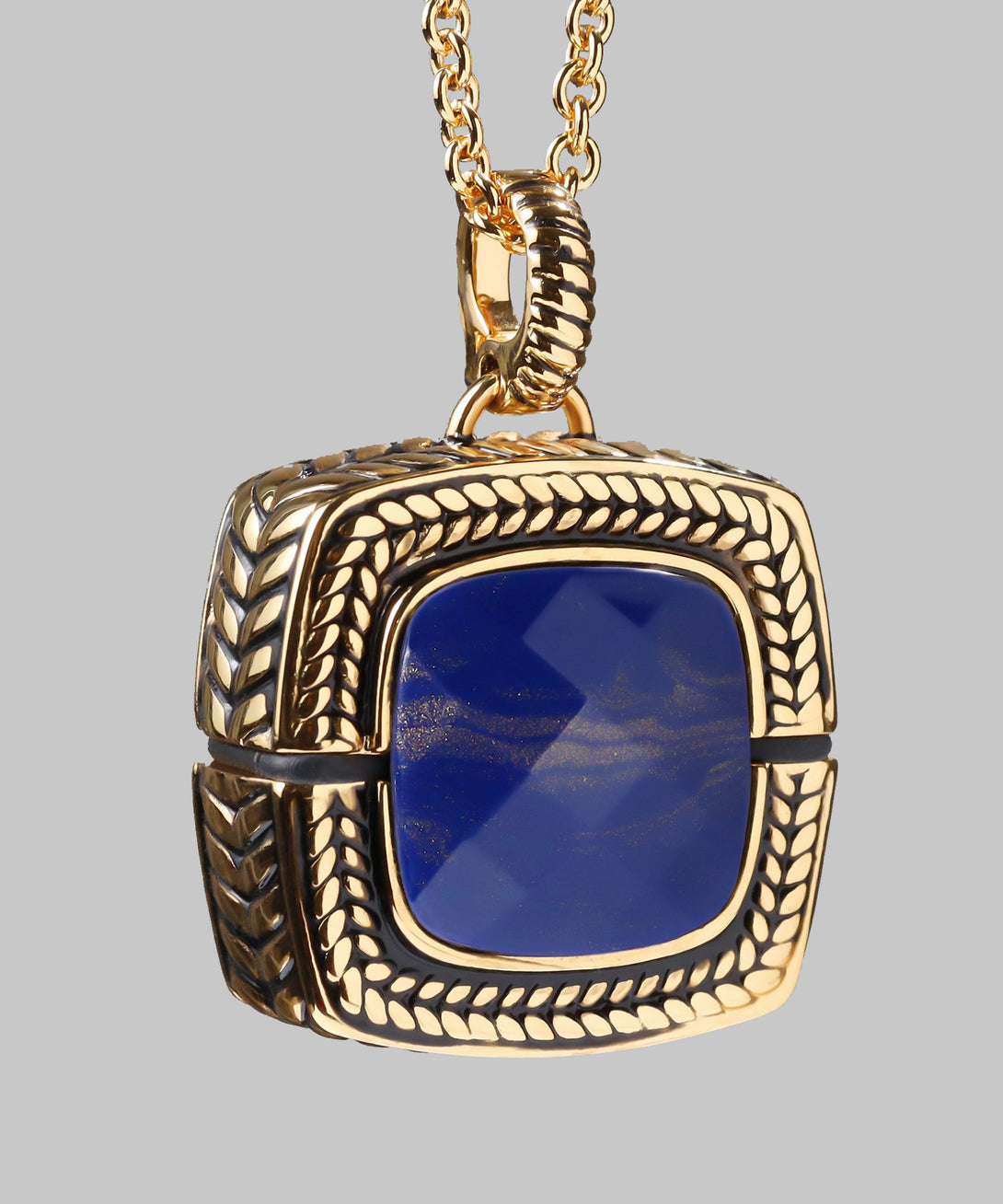 Sally Emergency Bluetooth Lapis Blue And Gold Necklace And Removable Pendant (front)