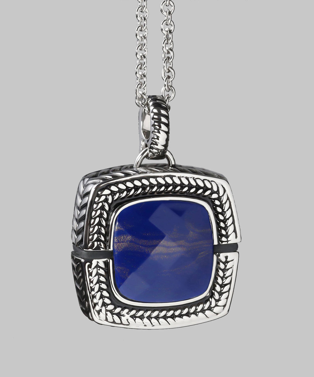 Sally Emergency Bluetooth Lapis Blue And Rhodium Necklace And Removable Pendant (front)