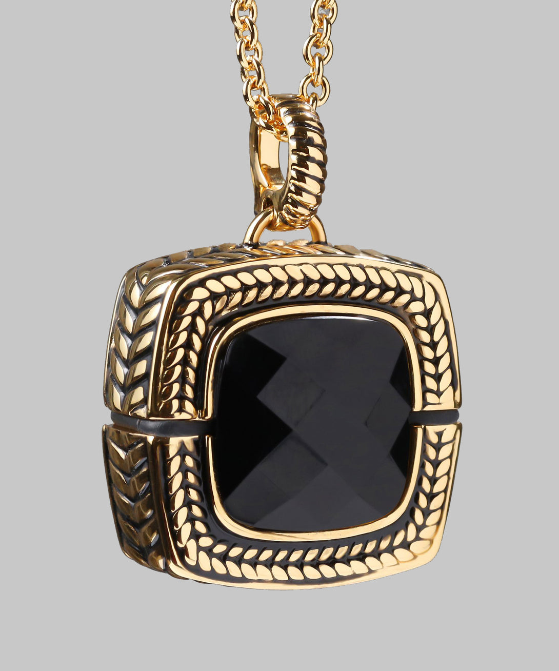 Sally Emergency Bluetooth Opaque Black And Gold Necklace And Removable Pendant (front)