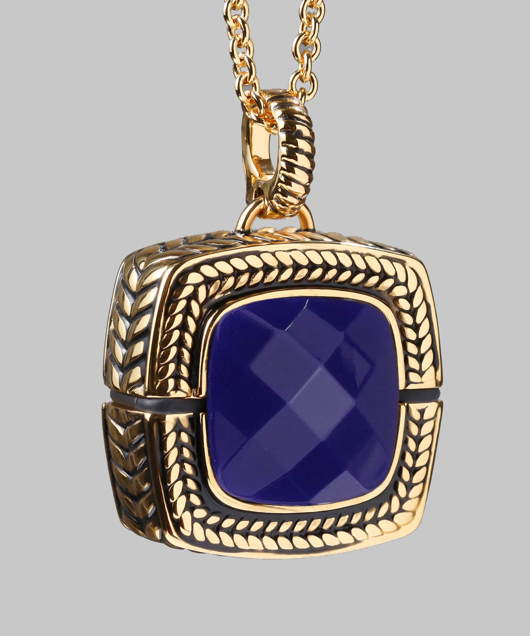 Sally Emergency Bluetooth Tanzanite Purple And Gold Necklace And Removable Pendant (front)
