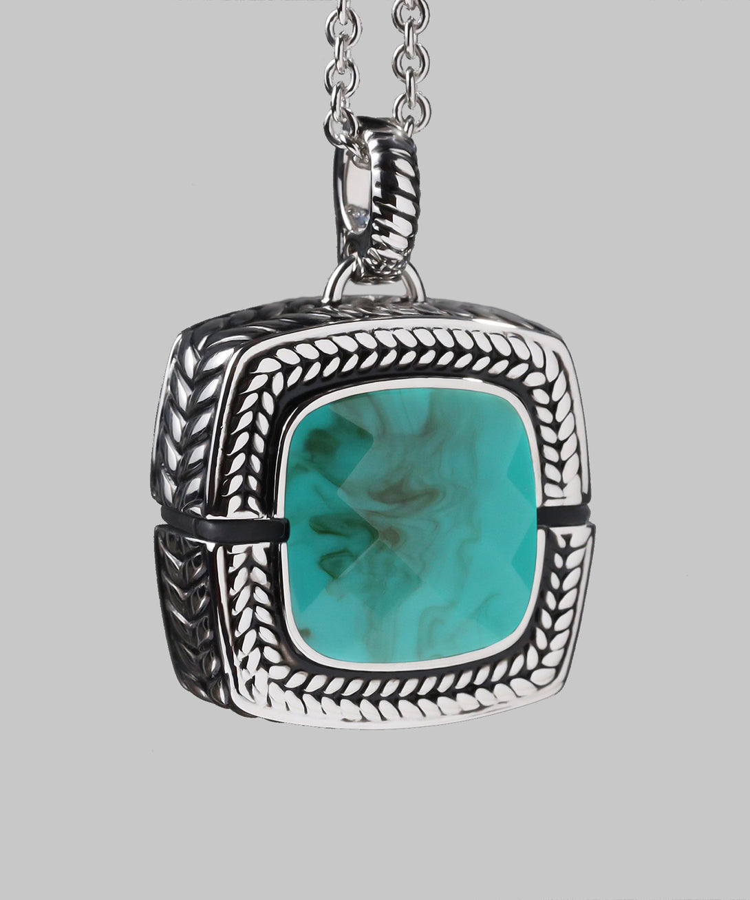 Sally Emergency Bluetooth Turquoise Blue And Rhodium Necklace And Removable Pendant (front)