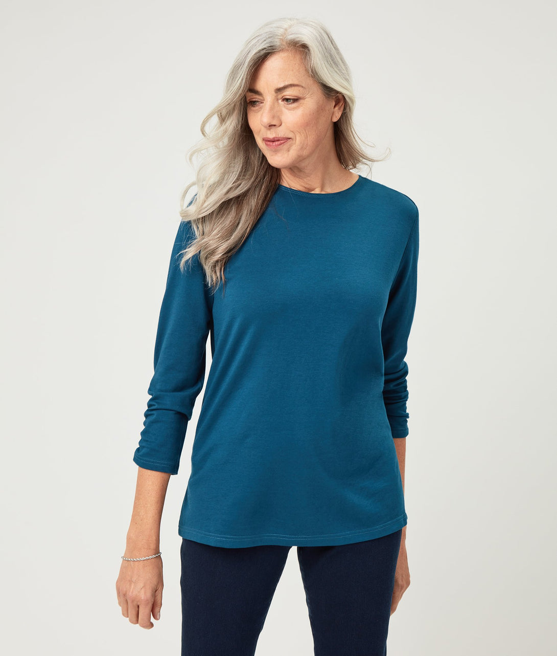 The Bonnie Long Sleeve Cotton Knit Tunic in Blue Opal