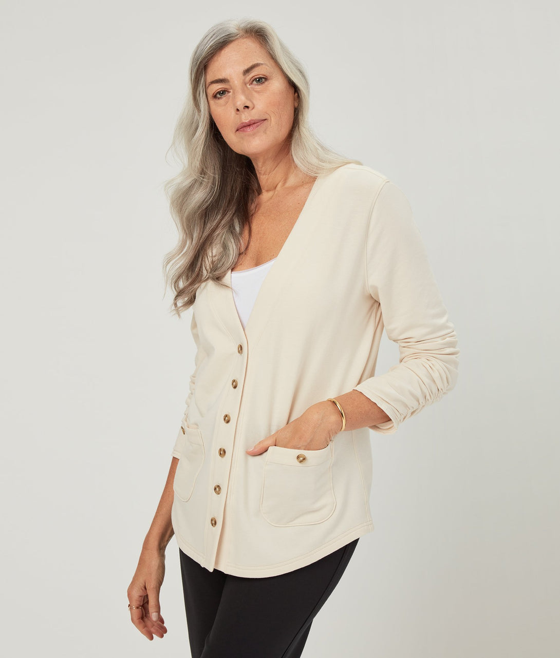 The Nina Cardigan in White Swan