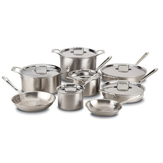 All-Clad Cookware Sets All-Clad d5 Brushed Stainless 14 Piece Cookware Set JL-Hufford