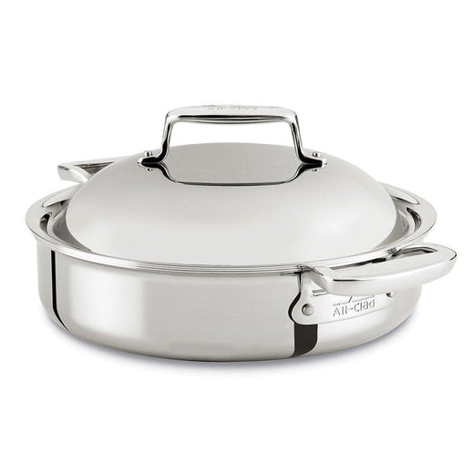 All-Clad Dutch Ovens and Braisers All-Clad d7 Stainless 4 Qt. Braiser Pan with Domed Lid JL-Hufford