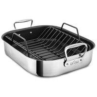 "All-Clad Roasting Pans All-Clad Large Nonstick Roasting Pan with Rack, 16"" x 13"" JL-Hufford"