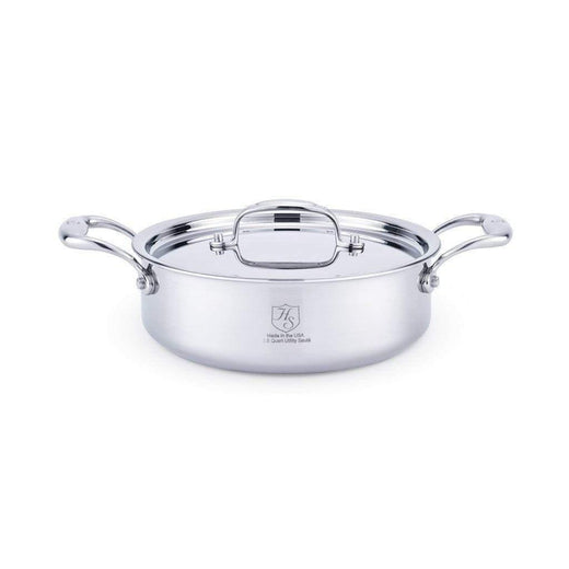 American Clad Cookware Saute & Sauteuse Pans 2.5 Qt. American Clad 7-ply Stainless Sauteuse with Lid JL-Hufford