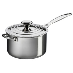 Le+Creuset+Saucepans+Le+Creuset+4+Qt.+Stainless+Steel+Saucepan+with+Lid+and+Helper+Handle+JL-Hufford