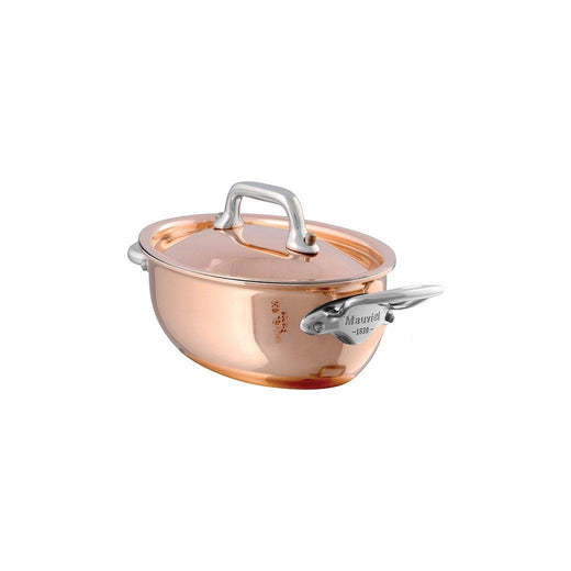 "Mauviel Stockpots & Soup Pots Mauviel M'Heritage Mini Copper Oval Stewpan with Lid - 4.8"" JL-Hufford"