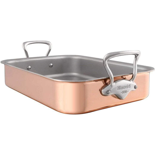 "Mauviel Roasting Pans Stainless Steel Mauviel M'Heritage Copper Tri-Ply Roaster with Rack - 15.7"" x 11.8"" JL-Hufford"
