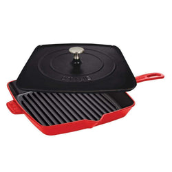 Staub+Grill+Pans+%26+Griddles+Cherry+Staub+Cast+Iron+12%22+Square+Grill+Pan+%26+Press+Set+JL-Hufford