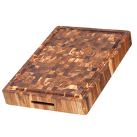 "TeakHaus Cutting Boards Proteak End Grain Carving Board with Juice Canal, 20"" X 14"" X 2.5"" JL-Hufford"