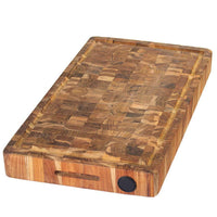Teakhaus End Grain Cutting Board with Hand Grip, Juice Canal, and Knife Honer (20 x 14 x 2.5″)
