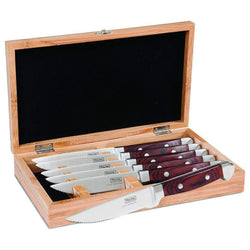 Viking+Steak+Knives+%26+Sets+Red+Viking+Professional+6-Piece+Steak+Knife+Set+in+Bamboo+Box+JL-Hufford