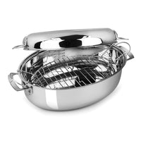 Viking Roasting Pans Viking Oval Roaster with Induction Lid & Rack, 9 Qt JL-Hufford