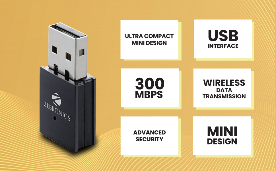 Zebronics ZEB-USB300WF 300Mbps WiFi Adapter Supports Advanced Security WPA/WPA2 encryption Standards & Access Point Mode for Hotspot (Black)