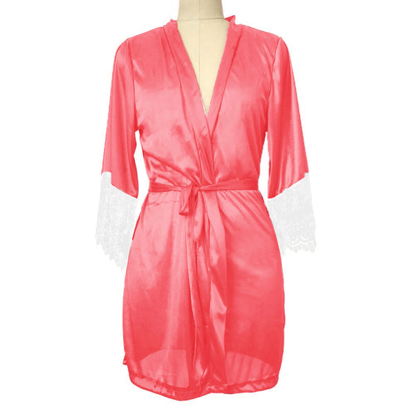 Kimono Robe Satin Silk Lace Night Wear