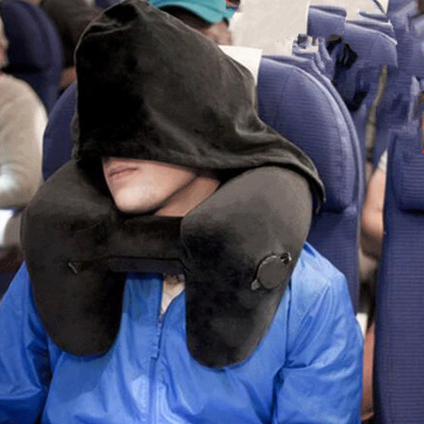 Inflatable Neck Pillow with Hood