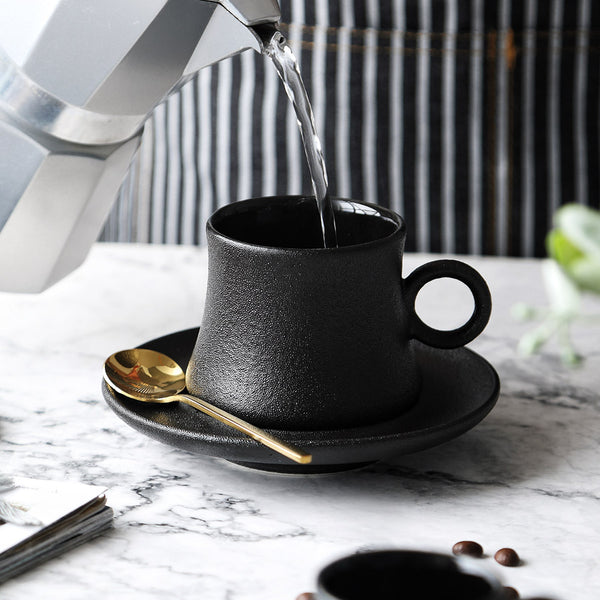 Black Vintage Cup and Saucer
