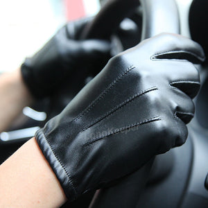 Men's Luxurious PU Leather Warm Gloves