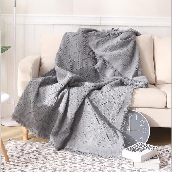 Cutelife Nordic Grid Cotton Knitted Sofa Cover