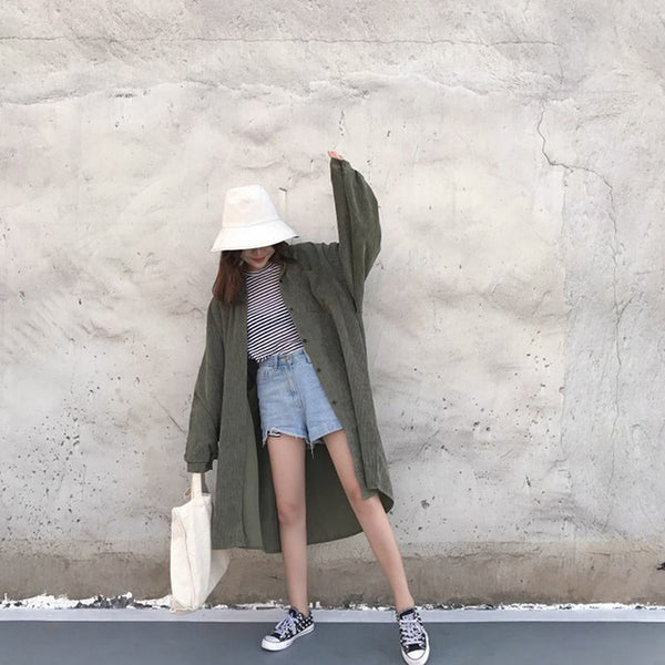 Vintage Long Sleeve Casual Loose Outerwear
