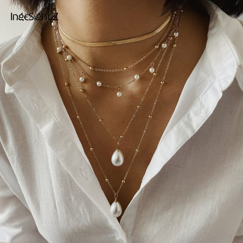 Bohemian Multi Layer Imitation Pearl Tassel Necklace