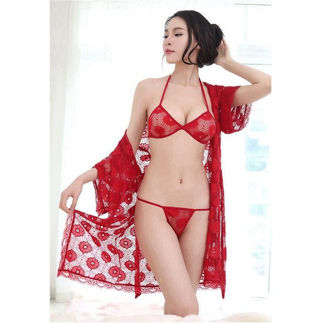 Red Robe with Bra