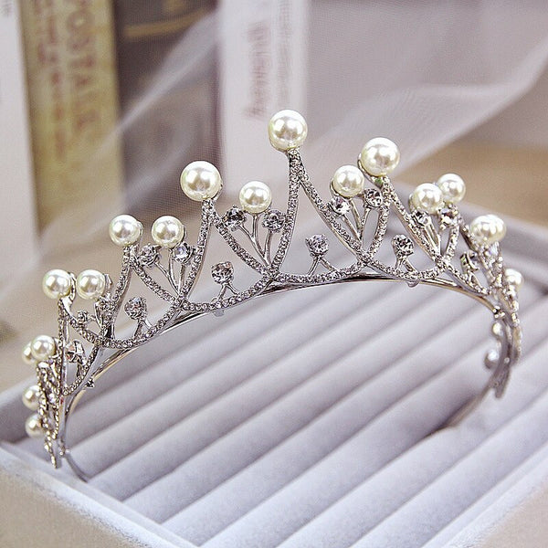 Crystal Pearl Tiara Crown