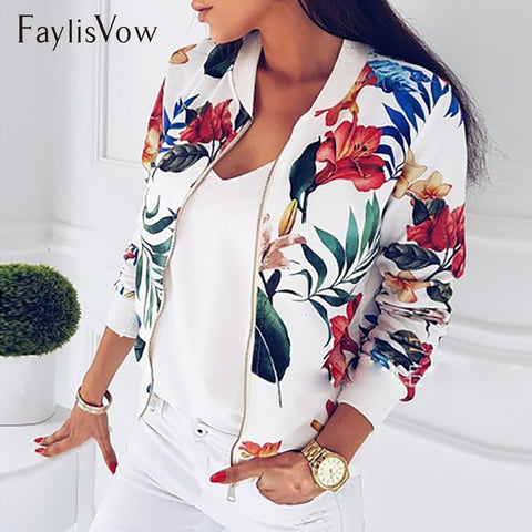 Retro Floral Printed Long Sleeve Zipper Bomber Jackets