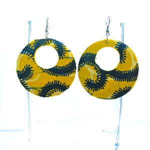 Yellow African Print Earrings - Zabba Designs African Clothing Store
