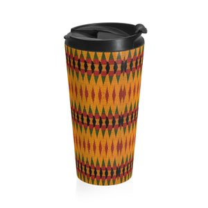 Orange Kente Print Stainless Steel Travel Mug