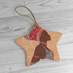 African Girl Orange Ceramic Ornaments - Zabba Designs African Clothing Store