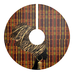 African Inspired Kente Print Christmas Tree Skirt - Zabba Designs African Clothing Store