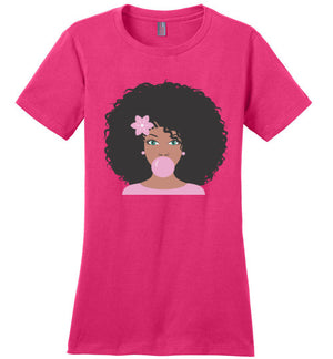 Cocoa Pink Bubble Gum Ladies Perfect Tee Shirt - Zabba Designs African Clothing Store