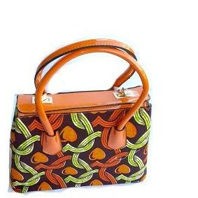 Traditional Print Top Handle African Print Tote Orange - Zabba Designs African Clothing Store
