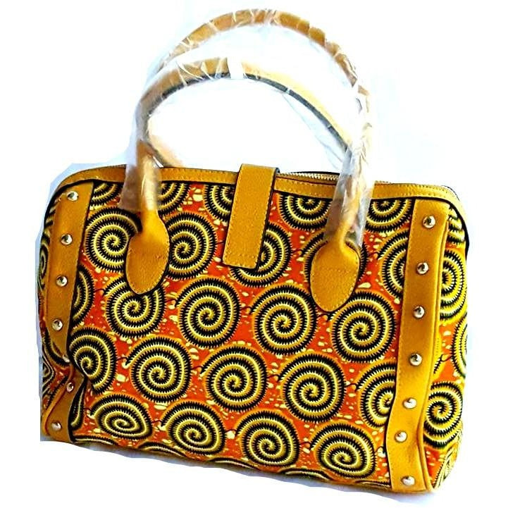 Trendy Quilted African Wax Print Tote Mustard - Zabba Designs African Clothing Store