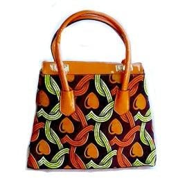 Top Handle African Print Tote Orange - Zabba Designs African Clothing Store