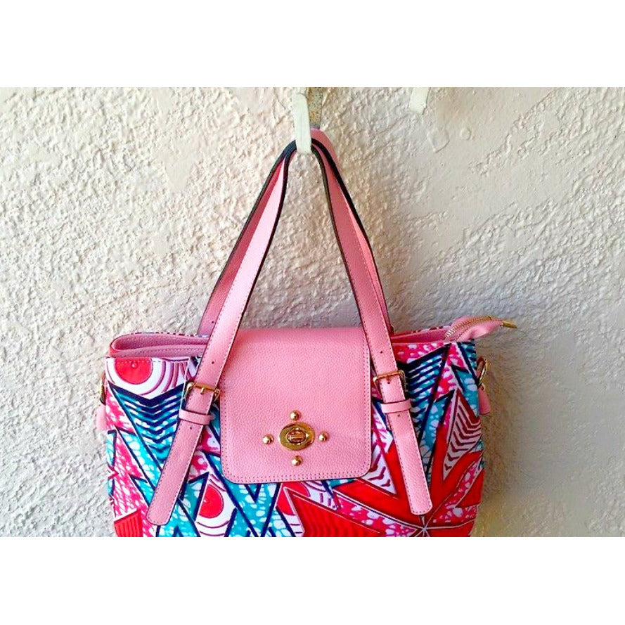 African Wax Print Top Handle Flap Satchel Pink - Zabba Designs African Clothing Store