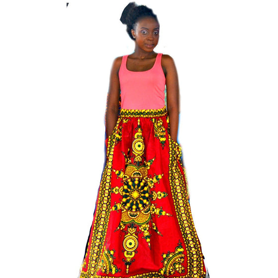 KALI African Print Maxi Skirt - Zabba Designs African Clothing Store  - 1