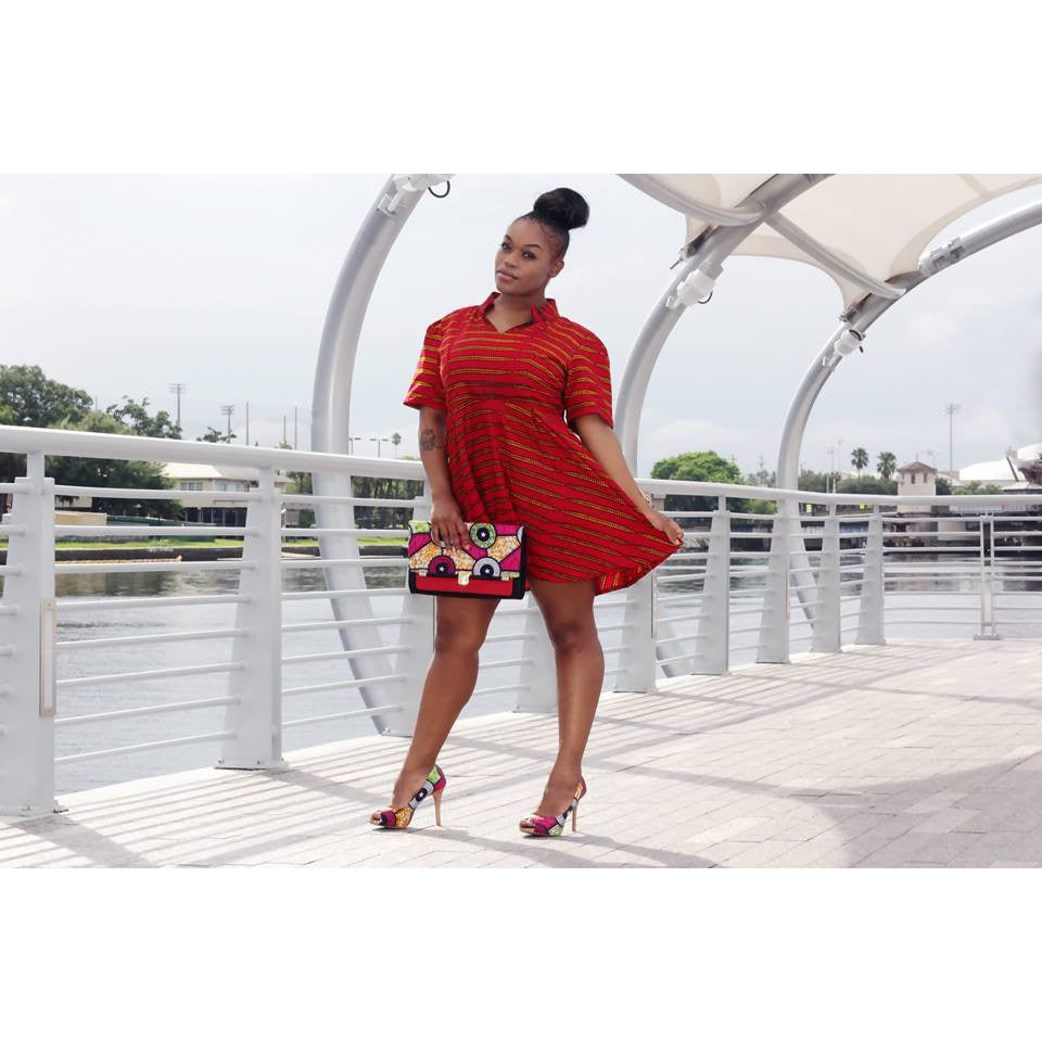 Red African Print Mini Dress - Zabba Designs African Clothing Store