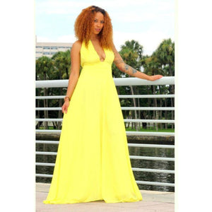 Yellow Chiffon Maxi Dress - Zabba Designs African Clothing Store