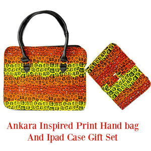 African Print Bag  Purse With Ipad Gift Set Orange - Zabba Designs African Clothing Store